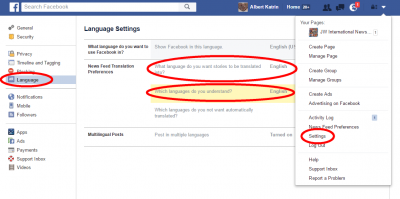 How to configure a translator on Facebook